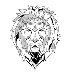 Ethnic lion for etching or tattoo design vector