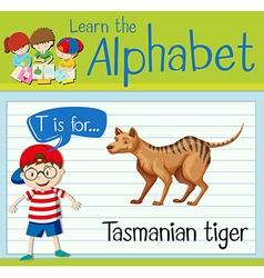 Flashcard letter T is for tasmanian tiger vector image vector image