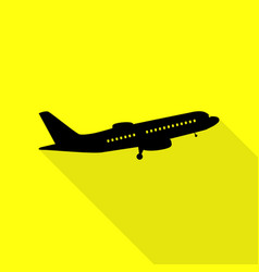 Flying plane sign side view black icon with flat vector