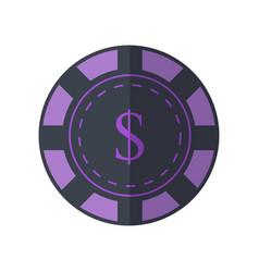 gambling chip in flat design vector image vector image