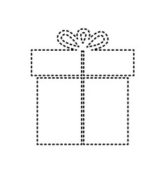 gift sign black dashed icon on white vector image