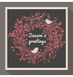 Holly wreath with two birds - Seasons greetings vector image