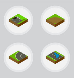 isometric road set of subway sand plash vector image