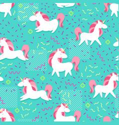 Magic unicorn seamless pattern modern fairytale vector