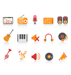Orange red color series music sound equipment vector