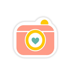 Paper sticker on white background wedding camera vector