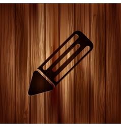 Pencil web icon wooden background vector