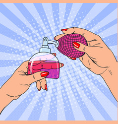 Pop art woman hands holding bottle of perfume vector