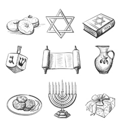 set of element for hanukkah vector image vector image