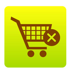 Shopping cart with delete sign brown icon vector