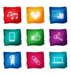 Social media icons watercolor vector