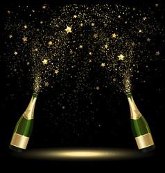 Spray Bottle of Champagne Golden Confetti vector image