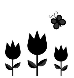 Three tulip flower set with leaf and flying vector
