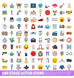 100 stage actor icons set cartoon style vector