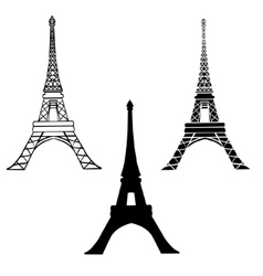 Set of 3 black eiffel towers in paris vector