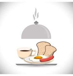 Tray breakfast meal coffee fried egg sausage bread vector