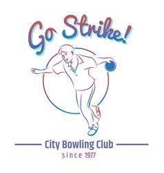Colorful bowling club emblem vector