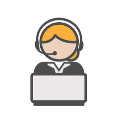 Call center agent icon with blond hair and a vector