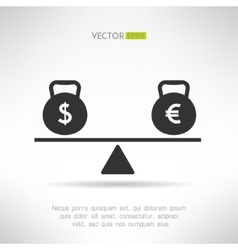Euro and dollar equal on scales Market balance vector image