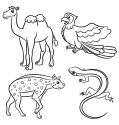 Animal set hyena lizard parrot camel outlined vector