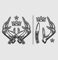 Horns with crossed knives and crown logo emblem vector