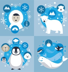 Arctic characters and icons set vector