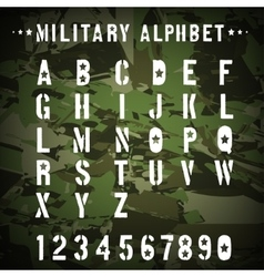 Military stencil alphabet on a camouflage vector