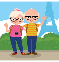 Mature couple travels to paris vector