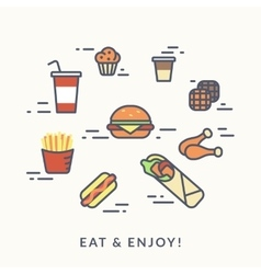 Set of junk food contour icons burger with hotdog vector