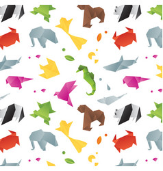 animals origami pattern color vector image vector image