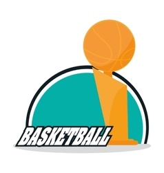 Ball and trophy of basketball sport design vector