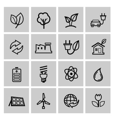 black eco energy icons set vector image