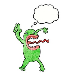Cartoon crazy frog with thought bubble vector