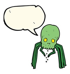 Cartoon spooky skull spider with speech bubble vector