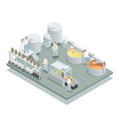 Cheese production factory isometric composition vector
