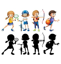 Children doing different sports set with vector image vector image