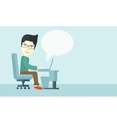 Chinese man sitting infront his computer vector