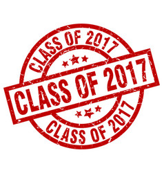 Class of 2017 round red grunge stamp vector