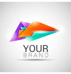 Creative colorful abstract triangles logo design vector