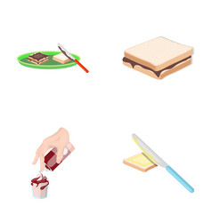 Dessert with cream a sandwich and other food vector