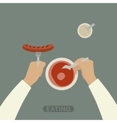 Eating background vector image vector image
