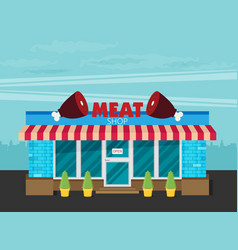Facade of meat shop flat vector