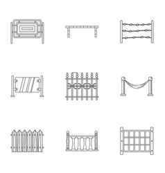 fence icons set outline style vector image