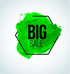 Green watercolor sale label vector