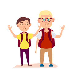 Happy friends waving hands free time after school vector