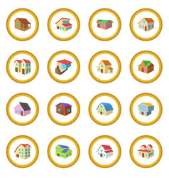 Houses cartoon icon circle vector