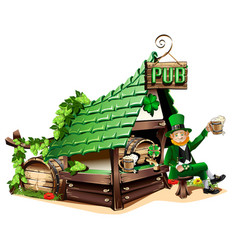 irish pub in cartoon style vector image vector image