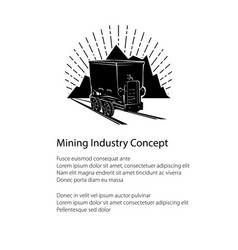 mountain mine poster vector image vector image