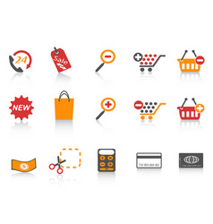orange red color series shopping icons set vector image vector image