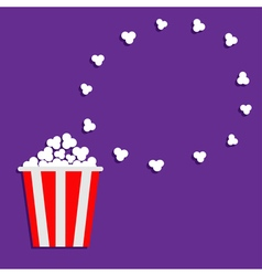 Popcorn round frame violet background vector
